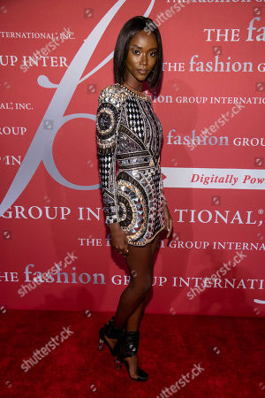"""Riley Montana attends the Fashion Group International's annual """"Night of Stars"""" gala at Cipriani Wall Street, in New York"""