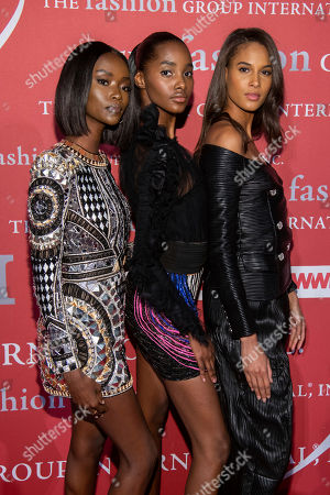 "Riley Montana, Tami Williams, Cindy Bruna. Riley Montana, left, Tami Williams and Cindy Bruna attend the Fashion Group International's annual ""Night of Stars"" gala at Cipriani Wall Street, in New York"