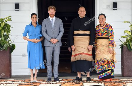 Prince Harry and Meghan Duchess of Sussex meet with King Tupou VI and Queen Nanasipau'u