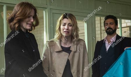 Clare Foster as Alexandra Panousis, Claire Goose as Phoebe Kyrkiacou and Doug Rao as Chris Panousis.
