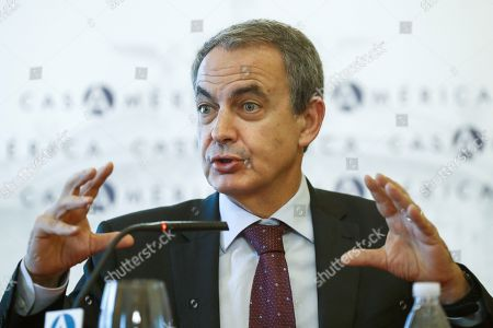 Former Spanish prime minister Jose Luis Rodriguez Zapatero speaks as he takes part in the forum 'The Challenge of the Ibero-American Integration', held at the House of America in Madrid, Spain, 26 October 2018.