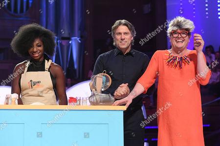 Kadeena Cox, John Bishop and Alan Carr dressed as Pru Leith during Bake-Off challenge