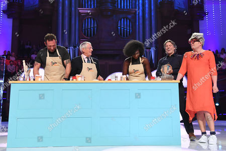 Jason Fox, Nick Hewer, Kadeena Cox, John Bishop and Alan Carr dressed as Pru Leith during Bake-Off challenge