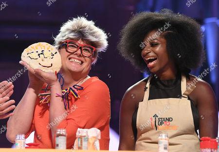 Alan Carr dressed as Pru Leith and Kadeena Cox during Bake-Off challenge