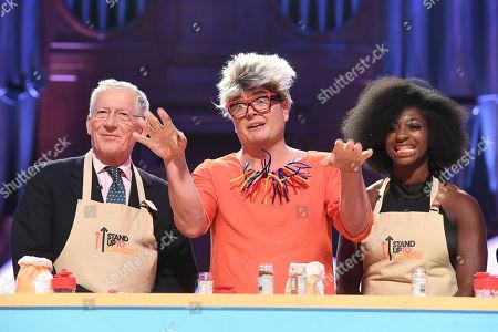 Nick Hewer, Alan Carr dressed as Pru Leith and Kadeena Cox during Bake-Off challenge