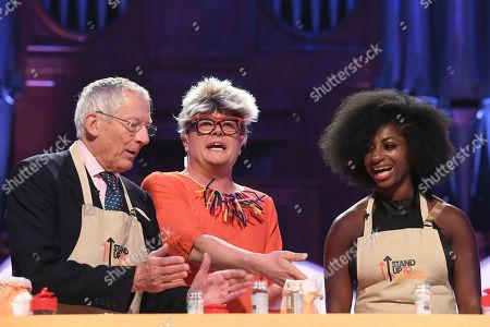 Nick Hewer, Alan Carr dressed as Pru Leith, Kadeena Cox during Bake-Off challenge
