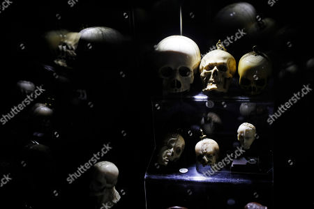 A collection of skulls made of different types of minerals and woods which belonged to late French industrialist and patron Pierre Berge on display during the presentation of the 'Pierre Berge: From One Home to Another' auction at Sotheby's auction house in Paris, France, 26 October 2018. The auction runs from 29 October to 31 October.