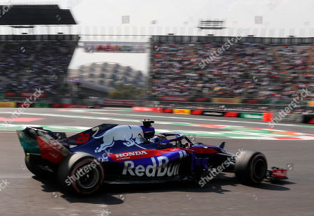 Toro Rosso driver Brendon Hartley, of New Zealand, drives in a practice run prior to Sunday's Formula One Mexico Grand Prix auto race at the Hermanos Rodriguez racetrack in Mexico City