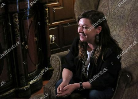 Scottish director Lynne Ramsay speaks during an interview at Morelia Film Festival in Morelia Mexico
