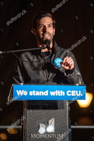 Andras Fekete-Gyor, chairman of the Hungarian oppositional party Momentum Movement, delivers his speech during the demonstration called 'We Stand With CEU' in downtown Budapest, Hungary, 26 October 2018. According to reports, the Central European University (CEU) in Budapest, founded by US philanthropist George Soros in early 1990s, has announced it has been forced to move from Budapest due new education law that banned foreign registered universities to operate in Hungary if they don't offer courses in their home countries.