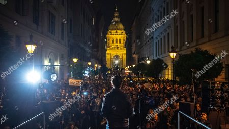 Andras Fekete-Gyor (C), chairman of the Hungarian oppositional party Momentum Movement, delivers his speech during the demonstration called 'We Stand With CEU' in downtown Budapest, Hungary, 26 October 2018. According to reports, the Central European University (CEU) in Budapest, founded by US philanthropist George Soros in early 1990s, has announced it has been forced to move from Budapest due new education law that banned foreign registered universities to operate in Hungary if they don't offer courses in their home countries.