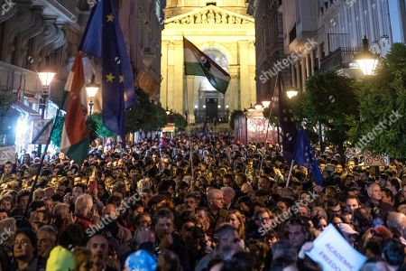 People attends the demonstration called 'We Stand With CEU' in downtown Budapest, Hungary, 26 October 2018. According to reports, the Central European University (CEU) in Budapest, founded by US philanthropist George Soros in early 1990s, has announced it has been forced to move from Budapest due new education law that banned foreign registered universities to operate in Hungary if they don't offer courses in their home countries.