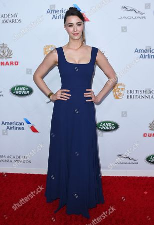 Madeline Zima arrives at the 2018 BAFTA Los Angeles Britannia Awards at the Beverly Hilton on in Beverly Hills, Calif