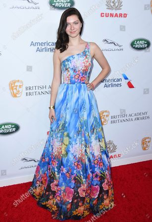 Isabella Blake-Thomas arrives at the 2018 BAFTA Los Angeles Britannia Awards at the Beverly Hilton on in Beverly Hills, Calif