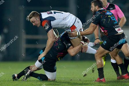 Dougie Fife - Edinburgh full back is tackled by Oliviero Fabiani of Zebre Rugby Club