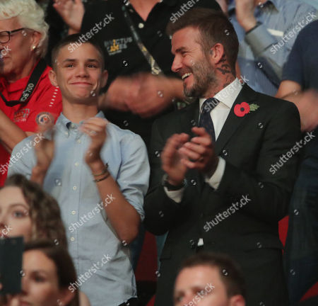 Stock Picture of Romeo Beckham and David Beckham attend the Closing Ceremony at the Invictus Games at the Qudos Bank Arena