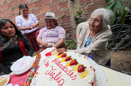 Stock Picture of Julia Flores Qolque, better known as 'Mama Julia', considered the oldest woman in Bolivia and probably in the world, celebrates in a typical costume her 118 years, in Sacaba, Bolivia, 26 October 2018. Sacaba's City Hall wants to present 'Mama Julia' to the Guiness World Record to be recognized as the eldest person in Bolivia and in the world as she will be 118 years-old on 26 October 2018.