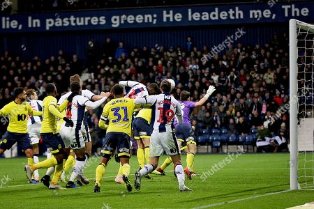 Outfielder Blackburn Rovers midfielder Richard Smallwood (6) makes a save as Blackburn hang on during the EFL Sky Bet Championship match between West Bromwich Albion and Blackburn Rovers at The Hawthorns, West Bromwich