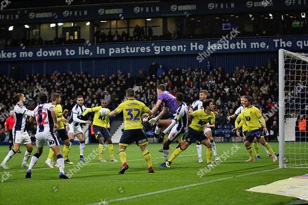 Outfielder Blackburn Rovers midfielder Richard Smallwood (6) makes another save as Blackburn hang on during the EFL Sky Bet Championship match between West Bromwich Albion and Blackburn Rovers at The Hawthorns, West Bromwich