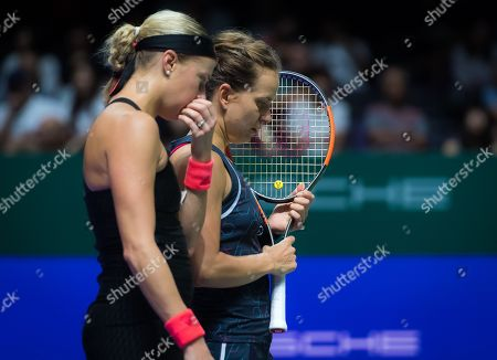 Stock Photo of Andrea Sestini Hlavackova & Barbora Strycova of the Czech Republic in action during her doubles semifinal at the 2018 WTA Finals tennis tournament