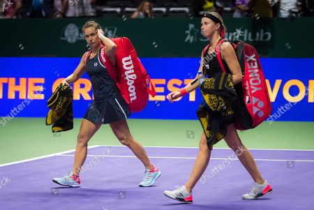 Andrea Sestini Hlavackova & Barbora Strycova of the Czech Republic in action during her doubles semifinal at the 2018 WTA Finals tennis tournament