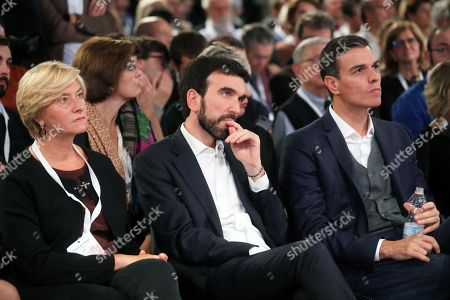 Stock Picture of (L-R) Former Italian Defense Minister Roberta Pinotti, Centre-left opposition Democratic Party (PD) leader Maurizio Martina and Spanish Prime Minister Pedro Sanchez attend the event Forum per l'Italia organized by the Democratic Party (PD) in Milan, Italy, 27 October 2018.