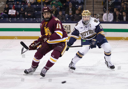 Minnesota-Duluth forward Justin Richards (19) and Notre Dame defenseman Andrew Peeke (22) battle for the puck during NCAA Hockey game action between the Notre Dame Fighting Irish and the Minnesota-Duluth Bulldogs at Compton Family Ice Arena in South Bend, Indiana