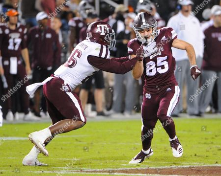 Mississippi State wide receiver, AUSTIN WILLIAMS (85), is covered by Texas A & M defensive back, DeSHAEN CAPERS-SMITH (26), during the NCAA football game between Texas A&M and the Mississippi State Bulldogs at Davis Wade Stadium in Starkville, MS. Mississippi State defeated Texas A&M, 28-13