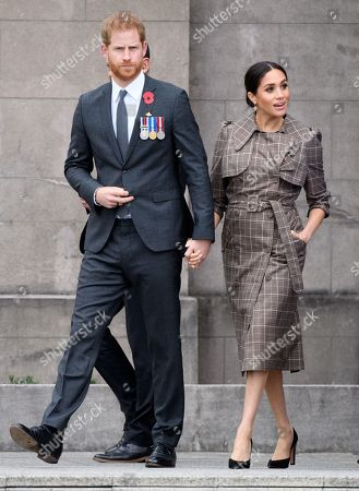 Prince Harry and Meghan Duchess of Sussex visit the Pukeahu National War Memorial Park in Wellington.