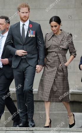 Prince Harry and Meghan Duchess of Sussex visit the Pukeahu National War Memorial Park in Wellington