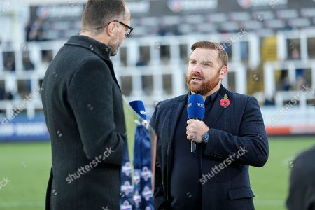 Andy Goode and Martin Bayfield of BT Sport discuss the game between Newcastle Falcons and Exeter Chiefs. Newcastle Falcons v Exeter Chiefs in The Premiership Cup at Kingston park, Newcastle upon Tyne on Sunday 28th October 2018