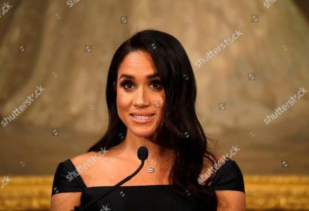 Meghan Duchess of Sussex addresses a reception hosted by the Governor-General celebrating the 125th anniversary of women's suffrage in New Zealand at Government House in Wellington