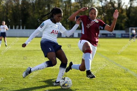 Jessica Naz of Tottenham Ladies and Jade Richards of Aston Villa Ladies during Tottenham Hotspur Ladies vs Aston Villa Ladies, FA Women's Championship Football at Theobalds Lane on 28th October 2018