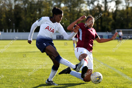 Stock Image of Jessica Naz of Tottenham Ladies and Jade Richards of Aston Villa Ladies during Tottenham Hotspur Ladies vs Aston Villa Ladies, FA Women's Championship Football at Theobalds Lane on 28th October 2018