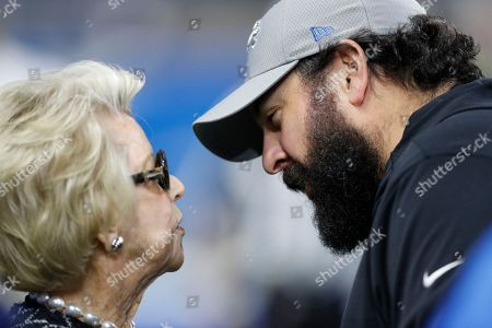 Detroit Lions owner Martha Ford talks with head coach Matt Patricia during pregame of an NFL football game against the Seattle Seahawks, in Detroit