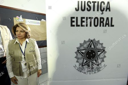 Costa Rican former president Laura Chinchilla, chief of the OAS observers' mission, visits a polling station during the second round of the presidential election, in Brasilia, Brazil, 28 October 2018. Around 147 millions Brazilians are called to vote in the second round of the country's presidential elections, where far-right candidate Jair Bolsonaro is favorite to win in all surveys. Fernando Haddad of the Workers Party will face Jair Bolsonaro, of the Social Liberal Party (PSL) in the second round of voting.