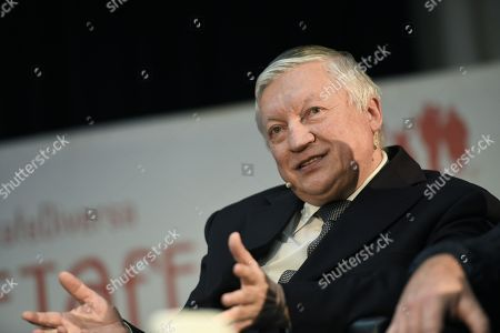 Stock Image of Former Russian chess world champion Anatoly Karpov speaks at a press conference before playing 20 simultaneous chess games at the Chess School of Getafe, Madrid, Spain, 28 October 2018.