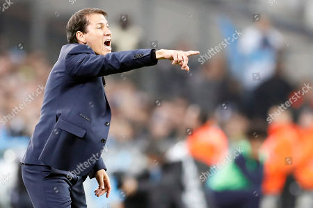Olympique Marseille's French head coach Rudi Garcia reacts during the French League 1 soccer match between the Olympique de Marseille (OM) and the Paris Saint Germain (PSG) at the Velodrome Stadium in Marseille, France, 28 October 2018.