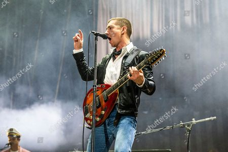 Stock Image of Alex Turner of Arctic Monkeys performs at the Voodoo Music Experience in City Park, in New Orleans