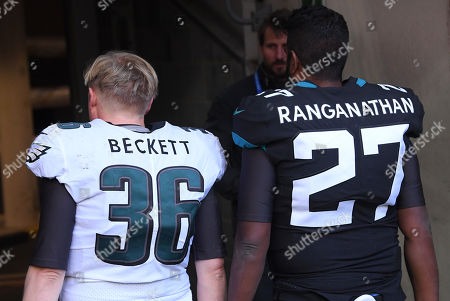 Stock Image of Romesh Ranganathan and Rob Beckett turn their hands to American football during the half time break and being cheered on by a capacity crowd at Wembley Stadium. Dropping several passes and celebrating touchdowns. Scenes were being filmed for their new show.  Pic: David Fisher/REX/Shutterstock