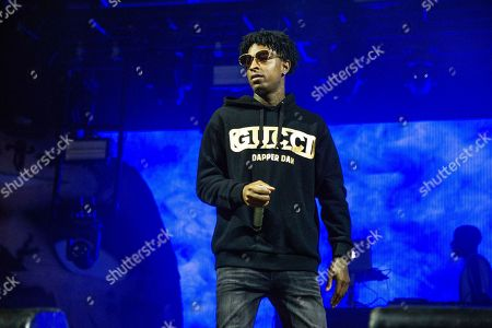 Stock Picture of 21 Savage, Shayaa Bin Abraham-Joseph. 21 Savage performs at the Voodoo Music Experience in City Park, in New Orleans