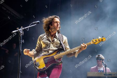 Nick O'Malley of Arctic Monkeys performs at the Voodoo Music Experience in City Park, in New Orleans