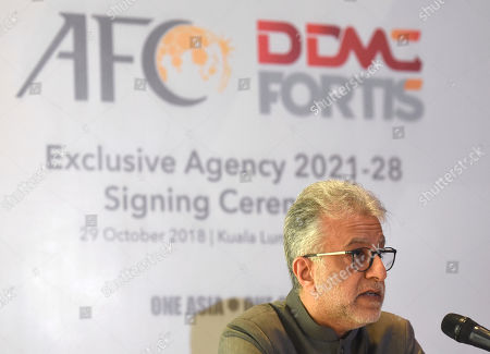 Asia Football Association President Salman Bin Ibrahim Al-Khalifa speaks during a press conference in Kuala Lumpur, Malaysia, . The Asian Football Confederation entered an agreement with DDMC for the Commercial Rights for 2021-2028. The new rights agreement will secure AFC Member Associations financial future and help the AFC enhance its competitions and development programs