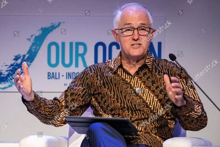Former Australian Prime Minister Malcolm Turnbull speaks during the fifth Our Ocean Conference in Nusadua, Bali, Indonesia, 29 October 2018. Bali is hosting the fifth Our Ocean Conference on 29 and 30 October 2018. Our Ocean Conference is focused on generating commitments and taking actions to maintain the sustainability of the oceans.