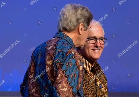 Malcolm Turnbull, John Kerry. Australia former Prime Minister Malcolm Turnbull, right, listens to former U.S. Secretary of State John Kerry as they attend the Our Ocean Conference in Bali, Indonesia . The two-day meeting focuses on generating commitments and taking actions to maintain the sustainability of our oceans