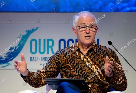 Australia's former Prime Minister Malcolm Turnbull delivers his speech during the Our Ocean Conference in Bali, Indonesia
