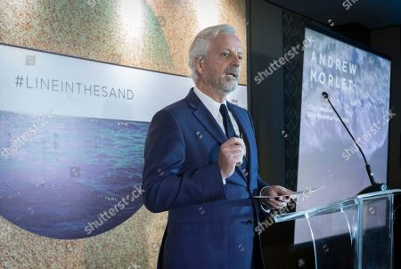 Andrew Morlet, CEO of the Ellen MacArthur Foundation, addresses delegates of the 2018 Our Ocean conference during the signing of the New Plastic Economy Global Commitment, in Bali, Indonesia