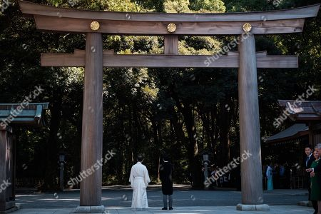 Japan Prince groom Kei Moriya (R) waits for her the aisle at the Meiji-Jingu shrine following their wedding