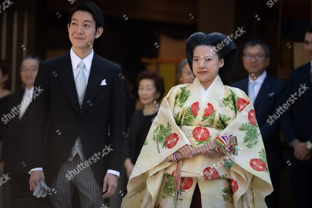 Stock Photo of Japanese Princess Ayako and Kei Moriya during their wedding at the Meiji-Jingu shrine in Tokyo