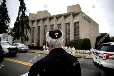 Stock Picture of Rabbi Jeffrey Myers of the Tree of Life/Or L'Simcha Congregation stands near the synagogue and wears a yarmulke with a Pittsburgh Pirates logo, in Pittsburgh, . Robert Gregory Bowers, the suspect in the synagogue shooting that killed more than 10 people on Saturday is due for a court appearance on Monday
